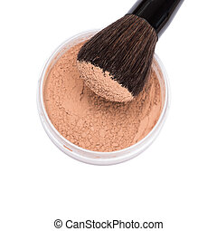 Makeup brush with jar of loose cosmetic powder isolated on...