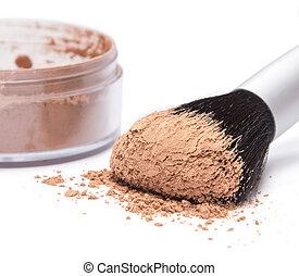 Makeup brush with loose cosmetic powder - Makeup brush...