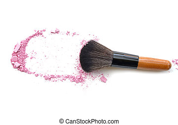 Makeup brush with purple crushed eye shadow, isolated on white.