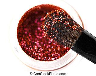 Makeup brushes and powder