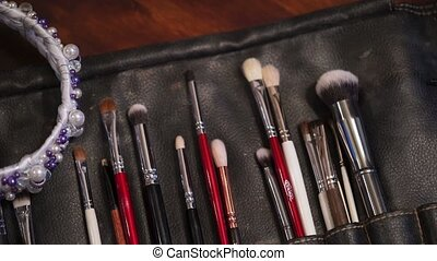 Makeup brushes and rim indoors