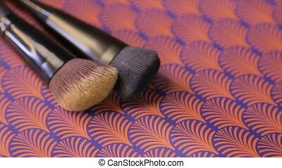Makeup brushes ,full hd video - Two makeup brushes, circle...