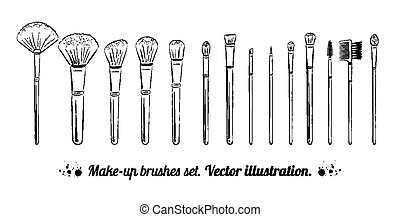 Makeup brushes kit. Hand drawn vector set. isolated on white...