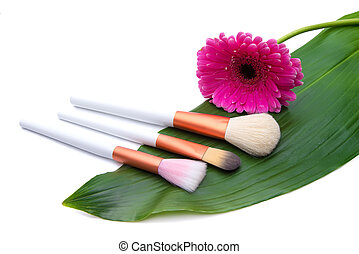 Makeup Brushes on green leaf with flower