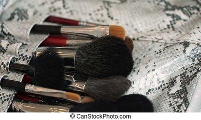 Makeup brushes pan shot - Makeup professional brushes pan...