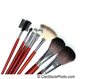Makeup brushes set on a white background