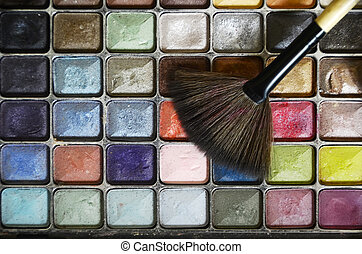 Close-up of rectangular and multicolored eye shadows