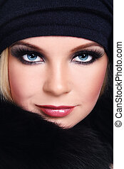 Makeup - Close-up portrait of young beautiful woman with...