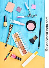 Makeup cosmetics set, top view.