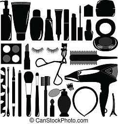 makeup, en, schoonheidsmiddel, product