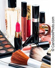 makeup, en, schoonheidsmiddelen, set