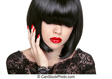 Makeup. Fashion bob Haircut. Hairstyle. Long Fringe. Short Hair
