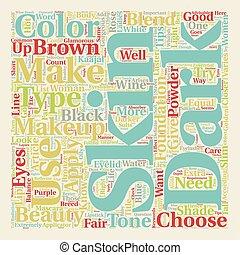 Makeup For Dark Skin text background wordcloud concept