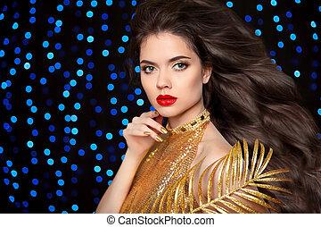 Makeup. Hairstyle. Beautiful brunette girl. Gold Fashion...
