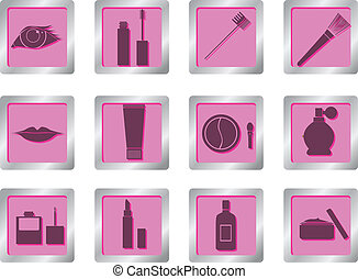makeup icons on square buttons