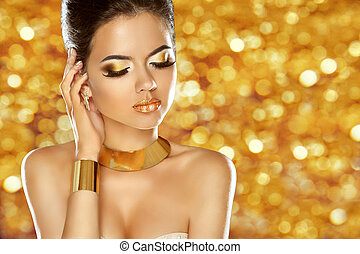Makeup. Jewelry. Glam lady. Beauty fashion girl model isolated o