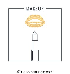 makeup lipstick logo design background