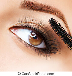 makeup., make-up., aplicando, mascara., longo, supercílios