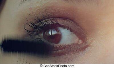 Makeup. Make-up. Applying Mascara. Long Eyelashes - Eye...