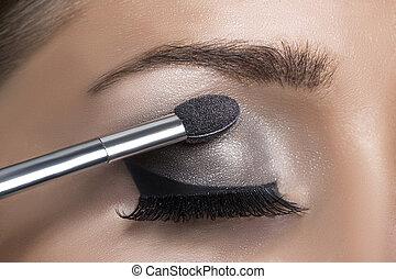 Makeup. Make-up. Eyeshadows. Eye shadow brush