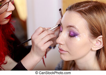makeup., make-up., eyeshadows., ombra occhio, spazzola