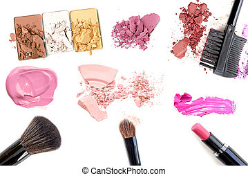 Makeup. Make-up Set. Collage. Mascara, lipgloss, lipstick, rouge, eyeshadows, eyeliner, foundation isolated on a white background