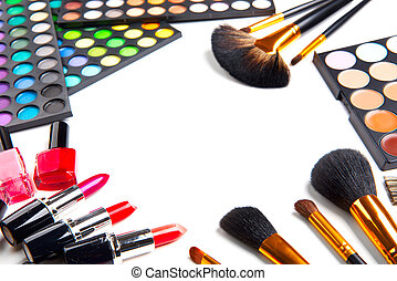 Makeup. Make-up set palette with colorful eyeshadows