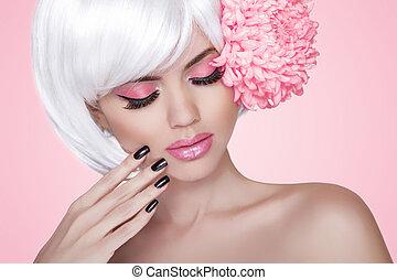 makeup., manicured, nails., mode, beauty, model, meisje, verticaal, met, flower., treatment., mooi, blonde, vrouw, op, rooskleurige achtergrond