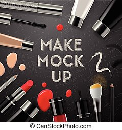 Makeup mockup with collection cosmetics and accessories,...