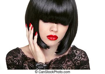 makeup., moda, bob, haircut., hairstyle., longo, fringe.,...