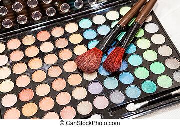 makeup, oog, borstels, twee, professioneel, schaduw