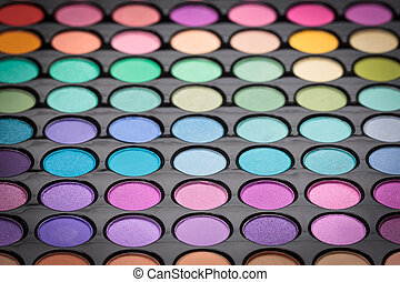 Colorful makeup eye shadows.