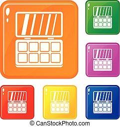 Makeup palette icons set vector color
