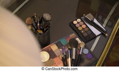 Makeup palettes and brushes