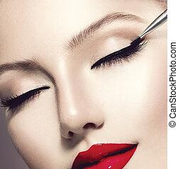 makeup., perfeitos, maquiagem, aplicando, closeup., eyeliner