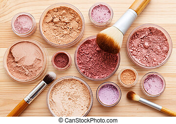 Makeup powder product flat lay - Makeup powder products with...