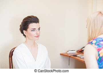 makeup preparing bride before the wedding in a morning - ...