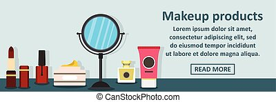 Makeup products banner horizontal concept