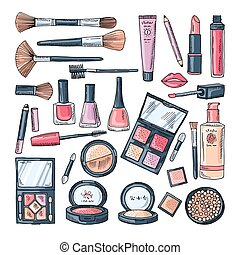 Makeup products for women. Colored hand drawn illustrations of different cosmetic accessories