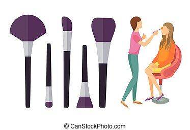 makeup, sæt, visage, visagiste, børster, vektor