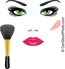 sample makeup for green eyes and a brush for