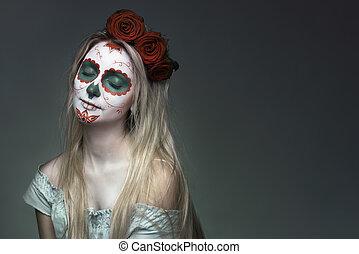 makeup, schedel, gezicht