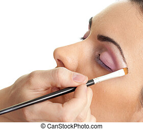 makeup, schets, de, eyes, routine