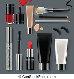 Makeup set with collection of make up cosmetics and accessories, vector Eps10 illustration.