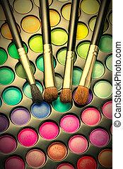 Makeup set - Makeup palette with makeup brushes. Toned image