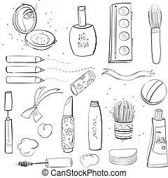 makeup, set, schets, tekening
