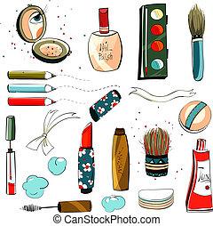 makeup, set, tekening, kleurrijke
