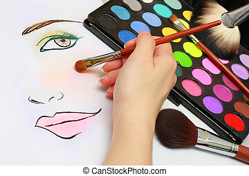 Makeup Sketching - Makeup artist is sketching makeup style...