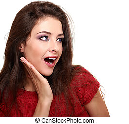Makeup surprised woman looking on copy space isolated on ...