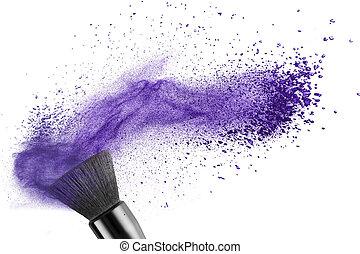 makeup szczotkują, z, błękitny proch, odizolowany
